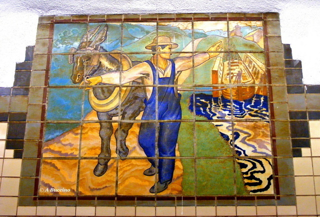 Morris Canal tow path - WPA tile mural - photo by Anthony Buccino