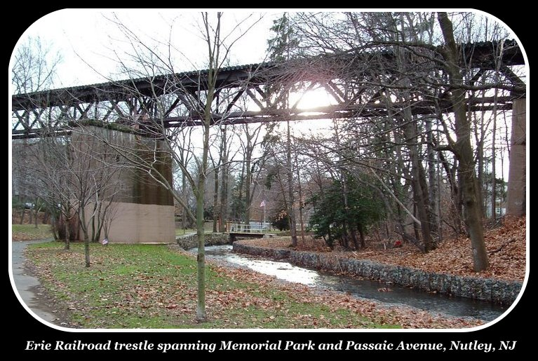 Erie Railroad trestle spanning Memorial Park and Passaic Avenue, Nutley, NJ
