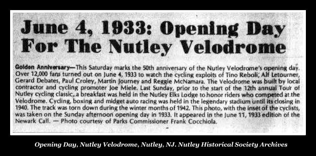 Nutley Velodrome opening day, Nutley, NJ, Cycle Racing, Nutley Historical Society